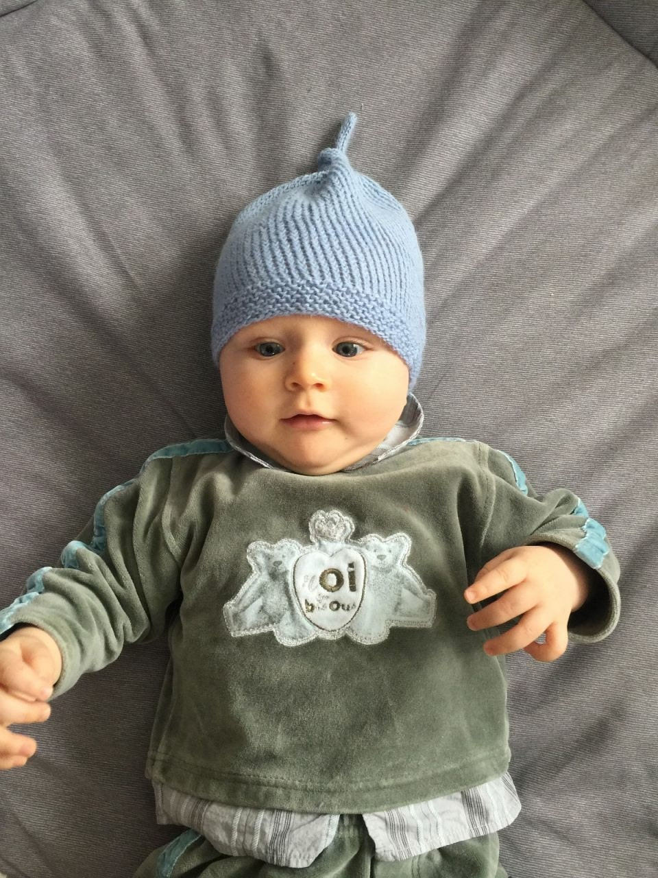 Knit Baby Hat Knitted Baby Beanie Blue Baby Boy Knit Hat Knit
