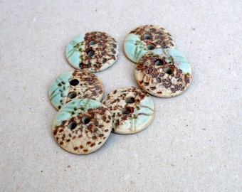 Turquoise And Brown  Porcelain Buttons , Aqua And Rust Sewing Buttons , Collectors Buttons, Crafting Supplies