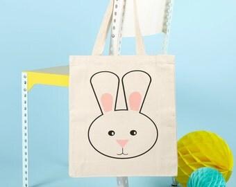 Rabbit Tote Bag - Animals -Screen Printed Canvas Long Handled Eco-friendly - Tote Bag - Animal tote bag - Kawaii - Beach Bag