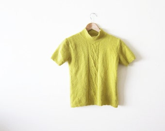 Mockneck Top / Mustard Yellow Blouse / Angora / 90s Clothing