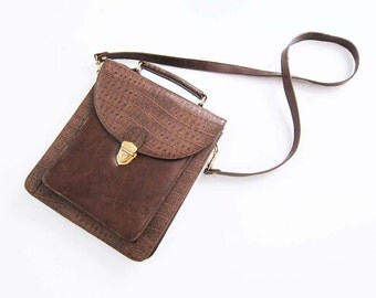 Leather Crossbody Purse / Top Handle Brown Leather Bag / Cross Body Bag / Messenger / Womens Purse