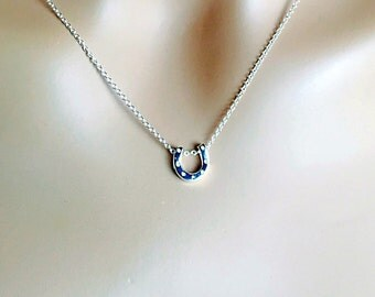 All Sterling Horseshoe Necklace,  Horseshoe Charm Luck Sterling Jewelry