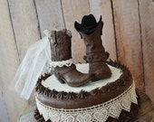 western wedding cowboy boot cake topper western bride and groom barn ranch farm tractor wedding cowboy decorated boots ivory veil cowgirl