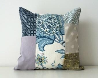 Contemporary Patchwork Pillow Cover, P/Kaufmann, Blues, Grays, Yellow, Geometric, Botanical, Neutral Colours, Pattern Block, Modern, Linen