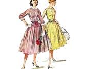 "1956 Vintage Front Button Bodice Shirt Waist Dress, Peter Pan Collar, 3/4 Sleeve or Sleeveless, Full Gathered Skirt, McCall's 3719, Bust 34"""