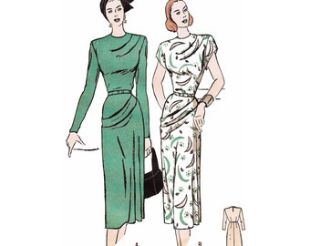 "1947 Draped Dress, Fitted Waist, Soft Pleats at Shoulder & Hipline, Long Slim or Cap Sleeve, Butterick 4345, Bust 36"", Unprinted Pattern"