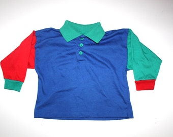 Vintage HEALTHTEX - Boy Shirt - Hipster - Blue, Red, Green - 3T