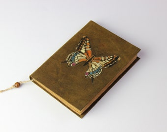 Butterfly Journal, diary, notebook, old paper, batik fabric, blank book, travel journal