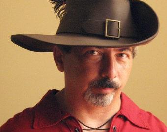 New Medieval Celtic Renaissance SCA Larp Leather Musketeer Hat with Fleur de Lys with Belt