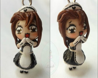 Kawaii Maid Chibi, lolita, french maid, cute, customized, polymer clay, maid cafe