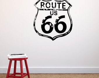 Rustic Worn-Down Route 66 Sign- Vinyl Wall Decal Decor for Laptops, Cars, Kids Room's, Boy's Rooms, Road Trips