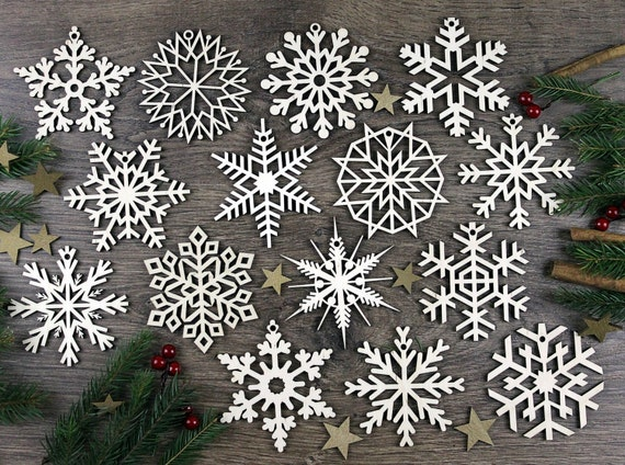 Set Of 15x Christmas Wooden Snowflake Ornaments Laser Cut