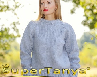 SUPERTANYA hand knitted wool sweater in blue, mens handmade pullover