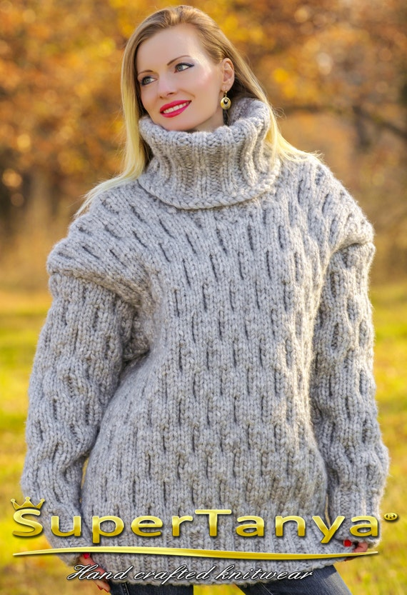 Mega thick and heavy hand knitted mohair wool sweater in gray