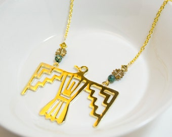 Firebird Necklace with Gold & Blue Beads