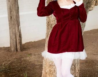 Dress/ Kawaii Dress/Babydoll Dress/Goth Dress/Designer Dress/ Velvet Dress/ Mini Dress/ Red Dress/ Custom Dress/ Original Dress