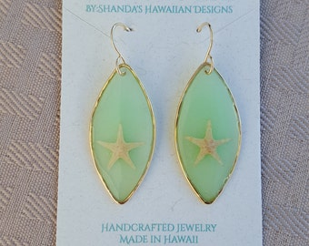 Sea Foam Green Starfish Earrings, 14K Gold Filled, See through resin earrings, stained glass