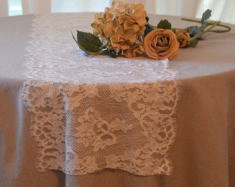 """Ivory Lace Table Runner 13"""" Wide 3FT-15FTlength/Cut Lace not hemmed/Off white or Light Ivory color/Lace Only no burlap/Farm Table Lace"""