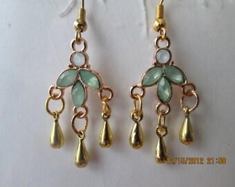 Gold Tone Dangle Earrings with Aqua Beads and Gold Tone Teardrop Beads