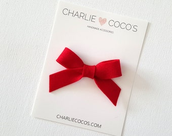 "SALE Baby / Girls Felt Bow Headband OR Hair Clip ""Bright Red"" - 4th of July Baby Bow -Premium Wool Felt Bow by charlie coco's"