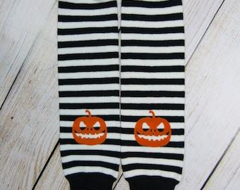 Halloween Baby Boy Girl Leg Warmers Pumpkin Black White Stripe Leggings Newborn Leg Warmers Baby Boy Girl Clothes