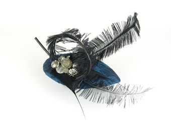 Fascinator Headpiece Cocktail Hat Statement Petrol Blue Floral Lace Fabric with Large Black Feathers and Vintage Buttons, Fashion Occasion