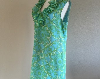 60s Cool Turquoise Summer Cotton Dress Larger Size