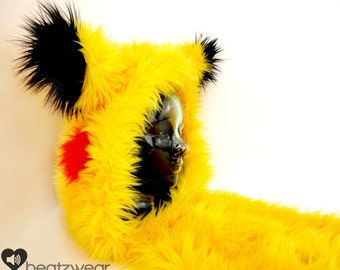 CUSTOM scoodie - Pikachu inspired rave hood faux fur animal hood hat furry scarf furry legwarmers rave fluffies pikachu cosplay