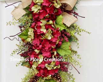 Hydrangea Wreath Swag in Burgundy and Green