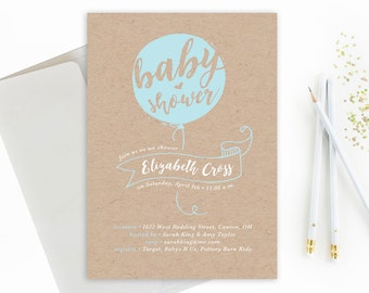 Baby Shower Invite: Baby Balloon on Kraft Paper // Country Kraft Baby Shower //  Balloon