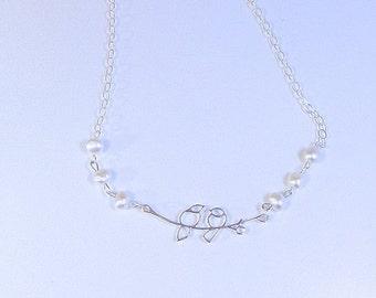 STERLING Silver LOVE BIRDS Necklace