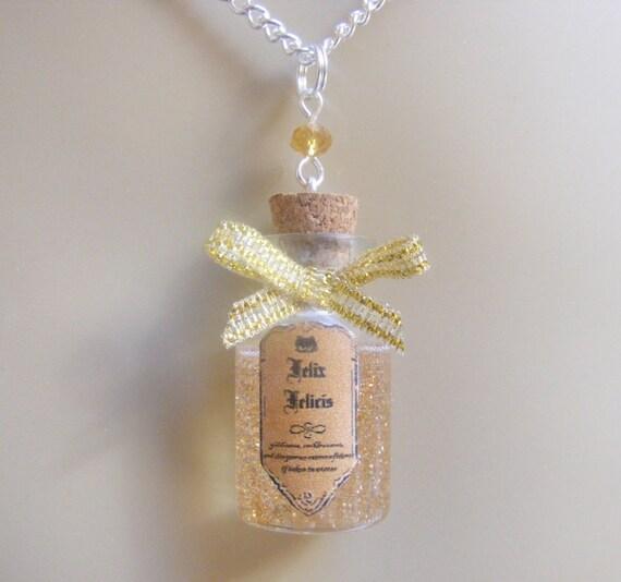 Felix Felicis Necklace, Felix Felicis Pendant, Potion Necklace, Miniature Bottle Necklace, Good Luck Charm Good luck jewlery Potion Jewelry
