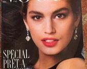 Vintage Paris Vogue Magazine February 1987 Cindy Crawford