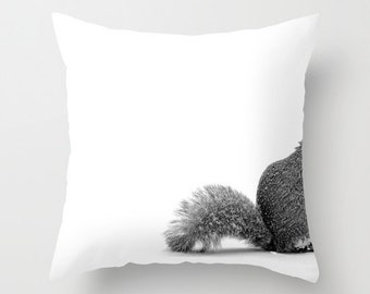 Nuts - Throw Photo Pillow Cover; Travel Photography [squirrel antler deer decor furry winter acorn boho chic snowflake farmhouse / woodland]