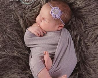 Itty Bitty - mini crochet flower headband in lavender (RTS)