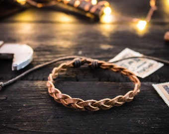 Brown genuine leather braided leather bracelet, mens bracelet, brown leather bracelet, braided bracelet, casual bracelet