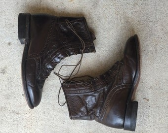 RARE 90's Equestrian Stitch Detail JUSTIN Lace Up Mid Calf Boots // Women's 6
