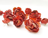 Brick Red Ranunculus - 12 Dry Look Artificial Silk Rose Flower Heads & Buds - Millinery, Wedding, Hair Accessories, Crafts, Home Decor