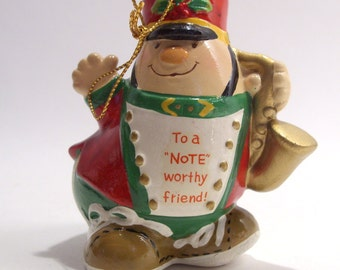 "Enesco Human Bean Saxophone Player Christmas Tree Ornament ""To a Noteworthy Friend"""