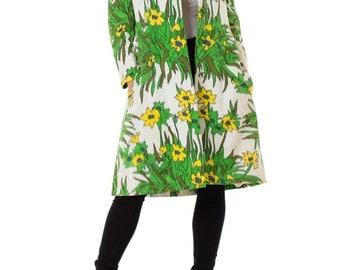1960s Chester Weinberg Fully Lined Floral Printed Coat, Size: S