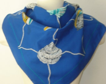 Vintage Blue Shell Scarf - Large Square Scarves - Womens Beach Vacation Accessories