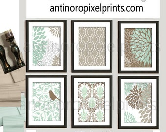 Art Flower Damask Bird Green Brown Khaki Prints , Set of (6) Prints, Custom Colors Available #281571618