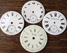Antique English Swiss Vintage Pocket Watch Enamel Dials Parts ~ Set of 4 ~ The Wonder Swiss Made ~ Kendal & Dent of London