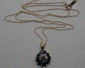 """10k Gold, Blue Sapphire and Diamond Flower Cluster Pendant with 18"""" Chain Necklace"""