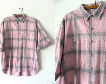 Sun Bleached Pink Button Down - Surfer Style 90s Grid Pattern Large Plaid Three Quarter Sleeve Vintage Shirt - Mens Large