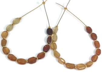 Hessonite Garnet Smooth Oval Nugget Beads, 5-8mm, Warm Vanilla Tan and Brown Hessonite Garnet, Oval Beads
