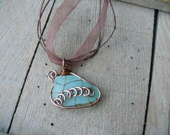 Wire wrapped pendant spiral, genuine sea glass, Birthday gift, genuine sea glass jewelry, sea glass pendant, beach stone pendant, copper
