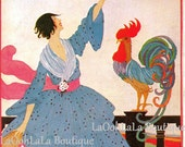 1918 Vogue Cover July American Prairie Fashion Helen Dryden Art Vintage Original 1980 Lithograph Print Colonial Farmhouse Rooster Wall Decor
