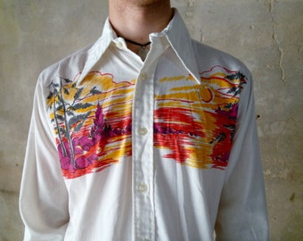 70s Desert Scene Button Down Shirt, Men's Vintage Scenery Print Top Size Medium