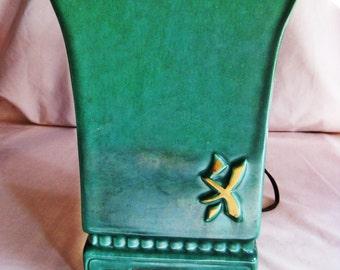 Vintage Rare Kirkwood California Tall Green Asian Art Pottery TV Lamp
